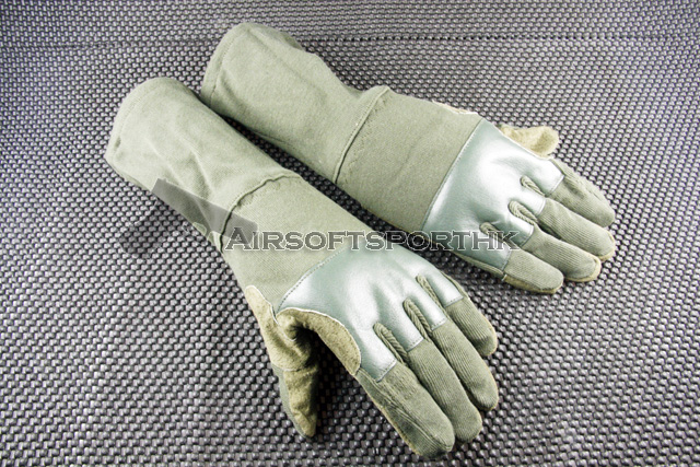 Airsoft Mid Arm Full Finger Tactical Green Flight Glove