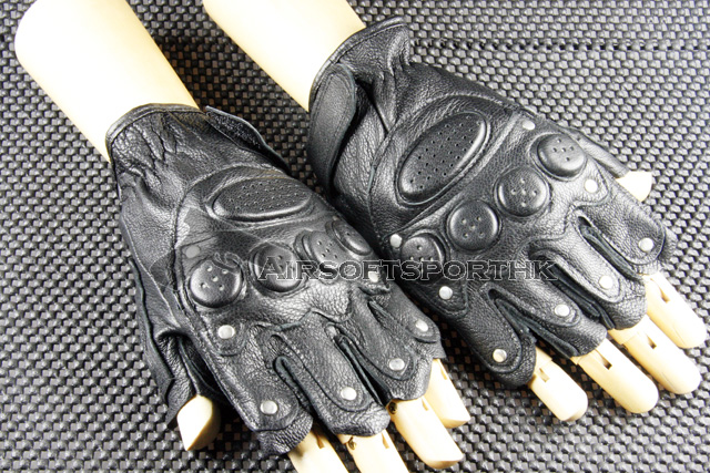Scott Type Studs Half Finger Leather Black Glove 07