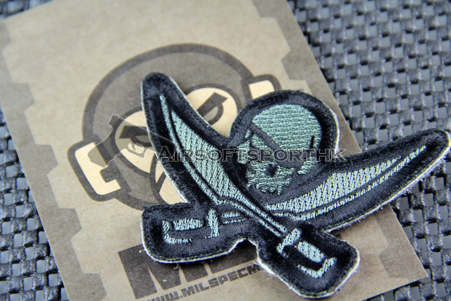 Mil-Spec Monkey Pirate Skull Diecut Logo Velcro Patch - ACU Dark