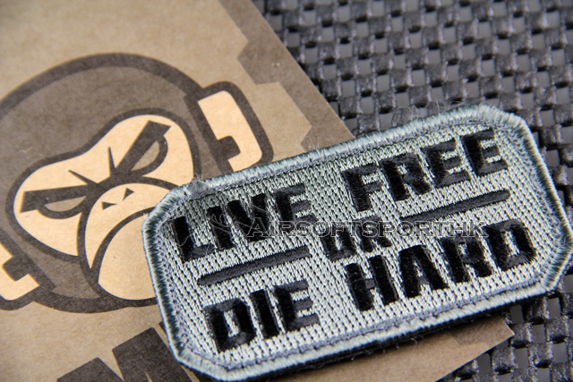 Mil-Spec Monkey Live Free or Die Hard Logo Velcro Patch - ACU Dark