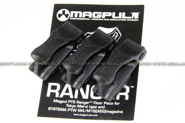MAGPUL PTS Ranger Floor Plate For Marui Std / Systema PTW M4 Magazine (BK, 3pcs)