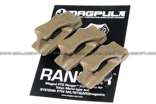 MAGPUL PTS Ranger Floor Plate for Marui Std / Systema PTW M4 Magazine (Dark Earth, 3pcs)