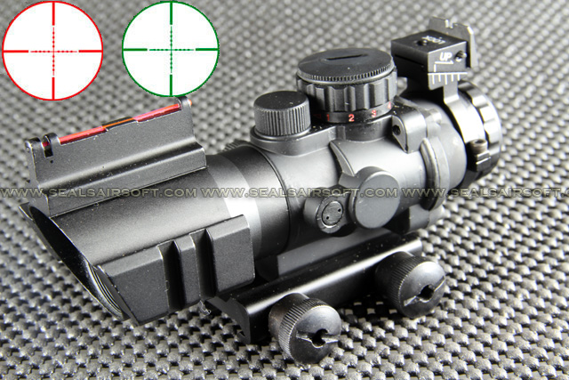 China Made 4x32 Red Green Mil-Dot Scope With Dual Rail (w/ Optical Fiber) RDS-044