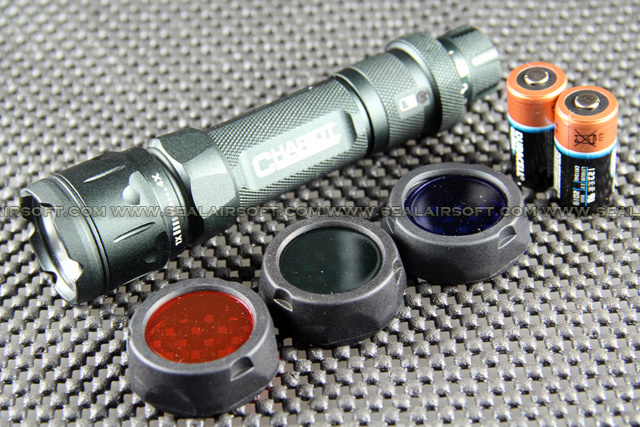 CHARIOT XP-E CREE Q4 235 Lumens Multifunction Flashlight With Filters Set