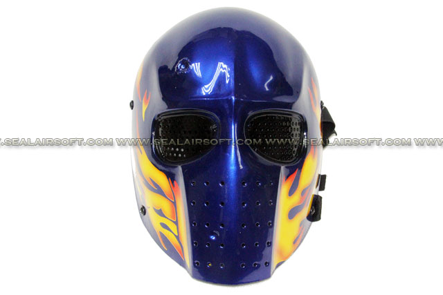 Army of Two Mask Flame Airsoft Paintball Helmet (Blue) - MASK-042-BLUE-FLAME