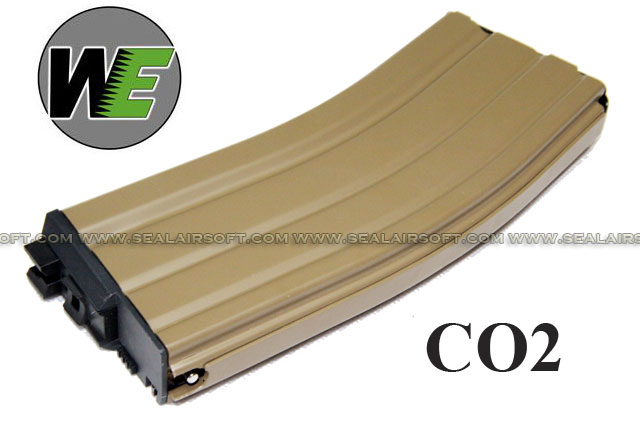 WE 32rds CO2 Magazine for WE M4/M16/SCAR Series -TAN  - WE-TAN-M4-OB-CO2-MAG