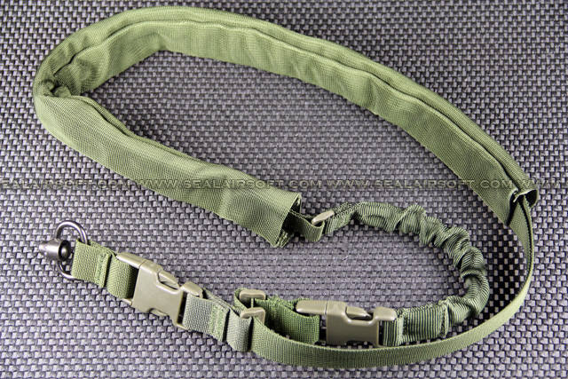 Single Point Green Rifle Sling With Leather Pad SL-001-GN