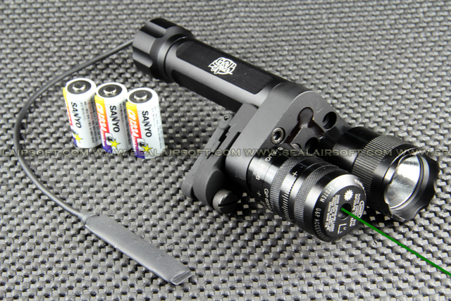 G&P Aiming Laser With 9V Xenon Flashlight For Front Sight (Green Dot) GP578D