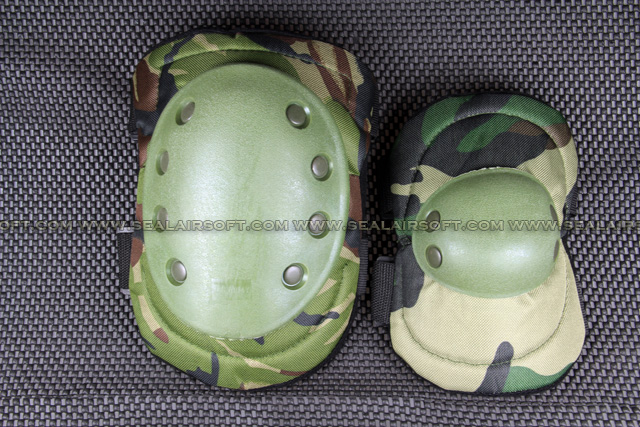 SWAT Tactical Paintball Knee & Elbow Pad Set (Woodland Camo) KP-001-WC