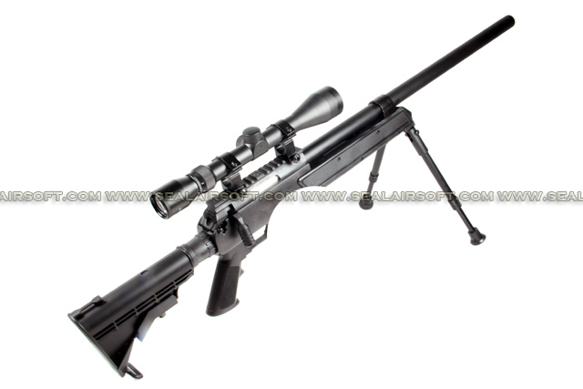 WELL APS SR2 Spring Sniper Rifle with Scope and Bipod (MB06D, Black) WELL-MB06D-BLK