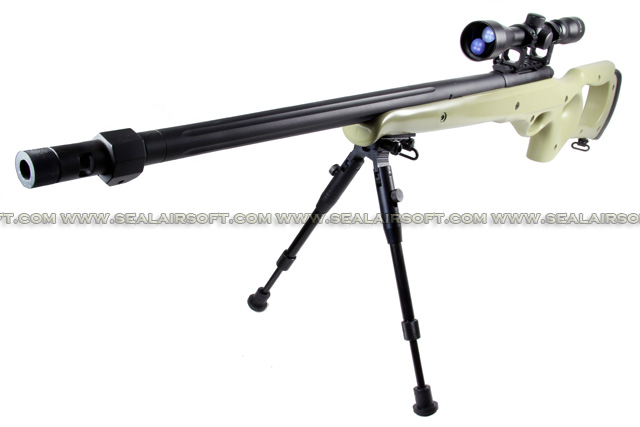 WELL MB-10 Spring Sniper Rifle with Scope and Bipod (MB10D, Tan) WELL-MB10D-TAN