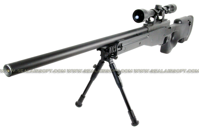 WELL L96 MB01D Bolt Action Sniper Rifle with Scope and Bipod (MB01D, Black) WELL-MB01D-BLK