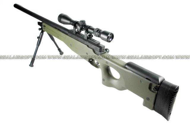 WELL L96 MB01D Bolt Action Sniper Rifle with Scope and Bipod (MB01D, Olive Drab) WELL-MB01D-OD