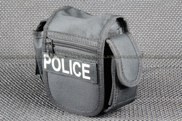 Utility Black Belt Pouch With Police Patch PH-001-BK