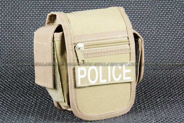 Utility Desert Tan Belt Pouch With Police Patch PH-001-DT