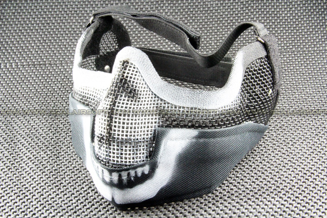 Half Face & Ear Black Strike Steel Mesh Mask With Skull Pattern 02