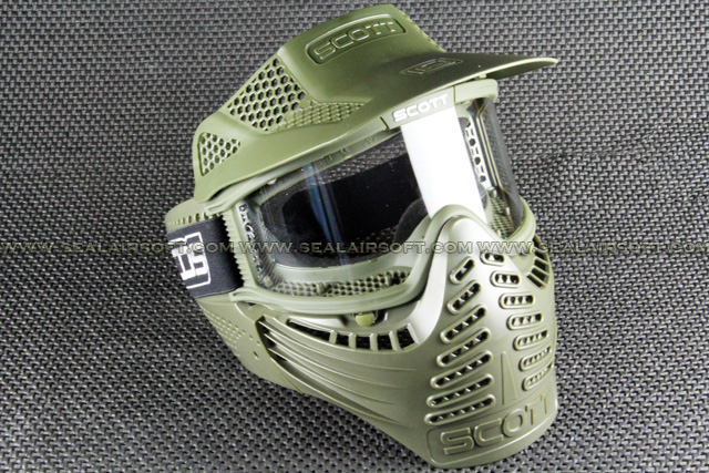 Airsoft Paintball Goggle Clear Lens Olive Drab Full Face Mask Type A Mask-029