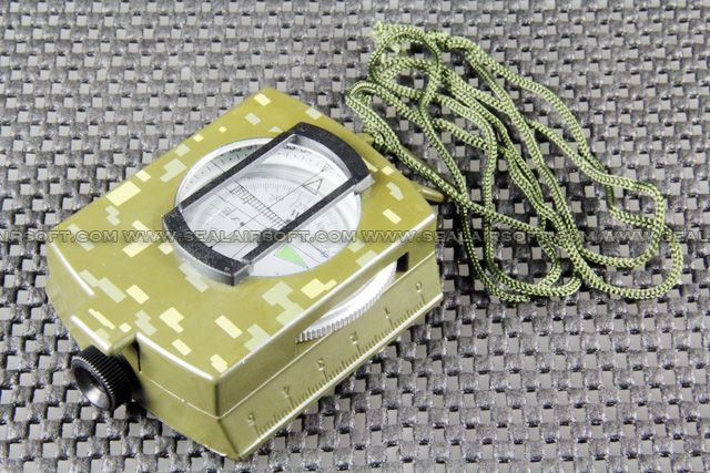 Camping Hunting Metal Military Compass With Pouch Digital Green Camo CS-01-DG