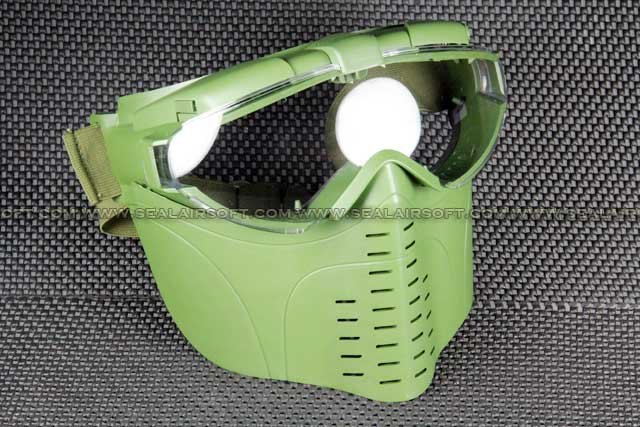 Full Face Clear Goggle Olive Drab Protector Mask With Fan MASK-011-OD