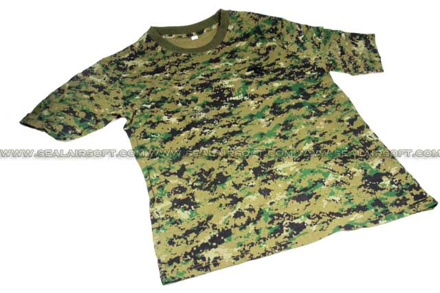 Camouflage Short Sleeve Cambat T-Shirt Digital Woodland Camo With Logo SHIRT-01-DWC