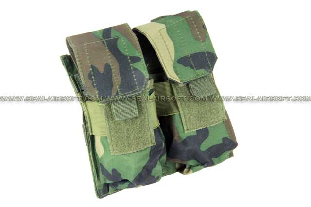 ACM Airsoft Molle Double Magazine Pouch Woodland Camo PH-012-WC