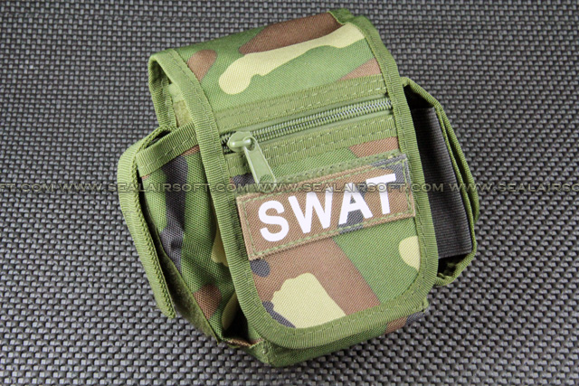 Utility Woodland Camo Belt Pouch With SWAT Patch PH-002-WC