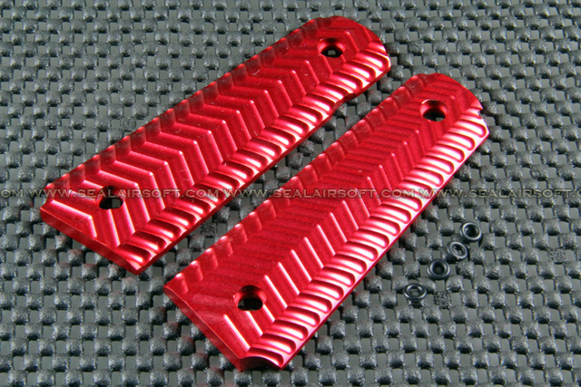 F.M.A. Aluminum Skidproof Texture Type Panel Grip Cover For M1911 Red FMA-M1911RC02-RD