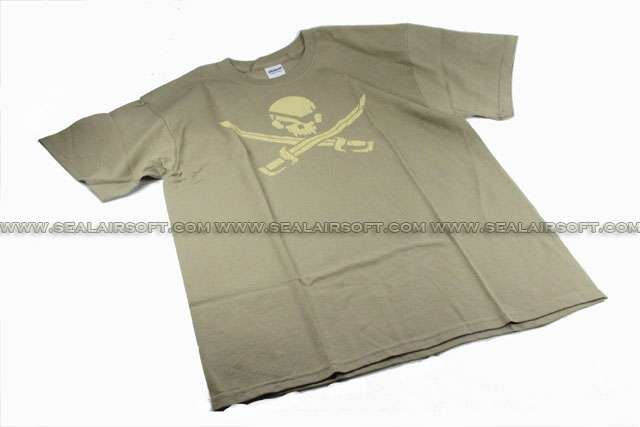 Mil-Spec Monkey T-Shirt - Pirate Skull (Greenish Brown)