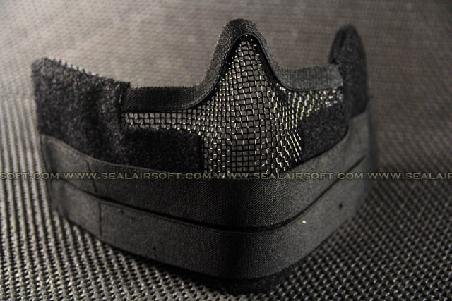 Airsoft Metal Mesh Wire Velcro Strap Half Mask Black 036
