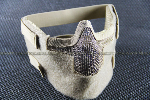 Airsoft Metal Mesh Wire Velcro Strap Half Mask Tan 036