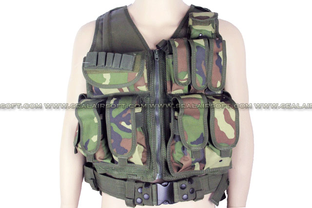 ACM Airsoft Tactical Hunting Combat Vest With Belt Woodland Camo ACM-VEST-003-WC