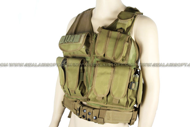 ACM Airsoft Tactical Hunting Combat Vest With Belt Coyote Brown ACM-VEST-003-CB