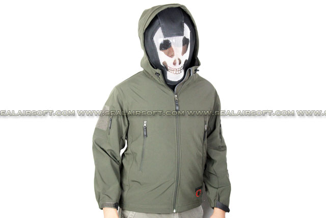 Stealth Hoodie SharkSkin Soft Shell Waterproof Jacket Olive Drab (BlackWater Logo) ACM-JACKET-02-OD