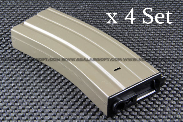 A.P.S. 300rd Hi-Cap METAL Magazine for ASR Series AEG x 4 Set (Dark Earth)