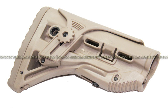 A.C.M. AEG Airsoft Buttstock with Adjustable Cheek Riser (Tan)