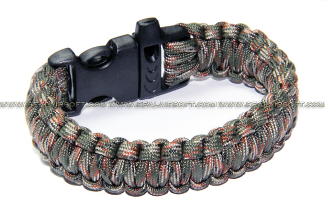 US Military Camping Gear Survival Bracelet W/ Whistle Clips Olive Camo CGSG01-OC