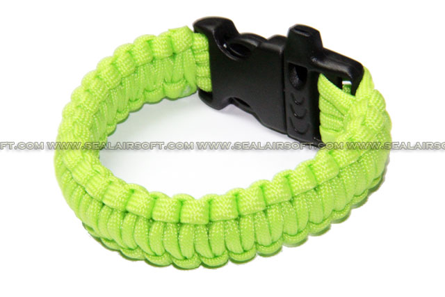 US Military Camping Gear Survival Bracelet W/ Whistle Clips - Luminous Yellow CGSG01-LY