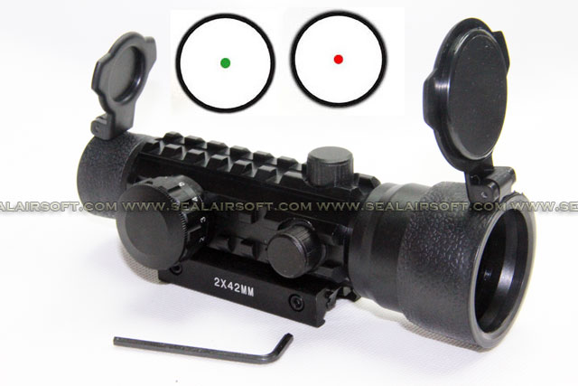 SE 2x42mm Tri-Rail Tactical Red Green Dot Sight RDS-063