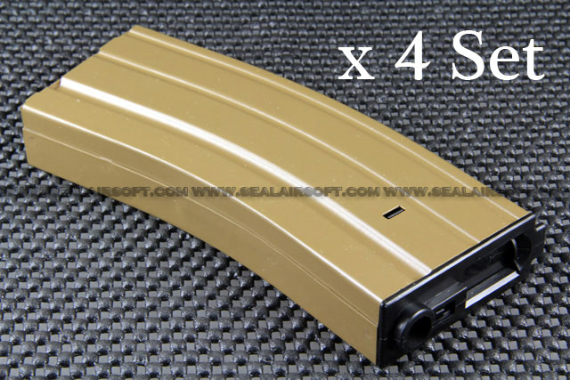A.P.S. 300rd Hi-Cap METAL Magazine for ASR Series AEG x 4 Set (Earth)