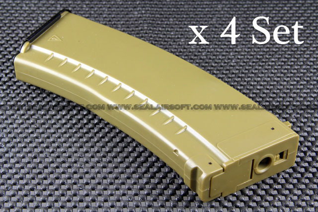 A.P.S. 500rd Hi-Cap Magazine for AK47/AK74 AEG x 4 Set (Dark Earth)