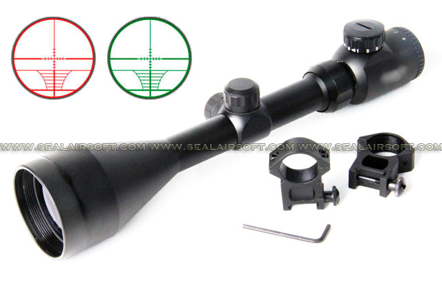 ACM 3-9x56E Large Optic Sniper Rangefinder Rifle Scope (Red/Green) With Mount RS-042