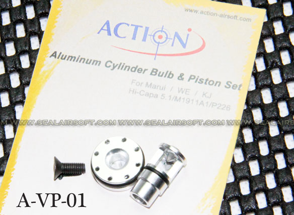 Action Aluminum Cylinder Bulb/Piston Set for Marui/WE/KJ HI-CAPA/M1911A1/P226 GB
