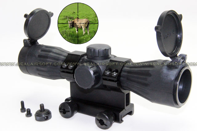 SE 6x32 Rubberized Compact Mil-Dot Scope With Dual Mount (Red/Green) SE-UTG-SC0081