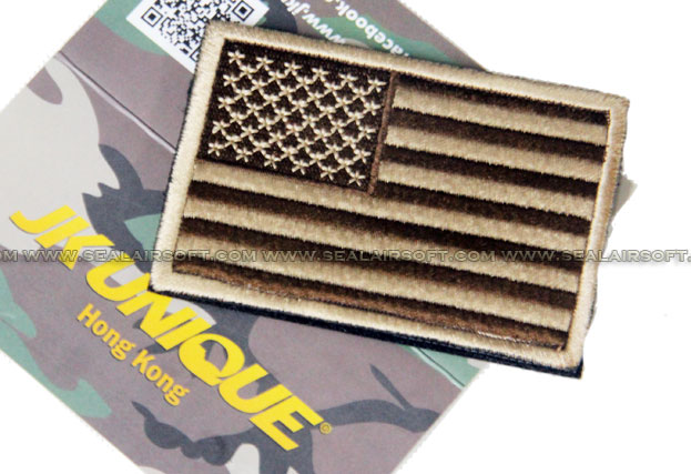 JK UNIQUE Patch - USA Flag (Tan, Left)
