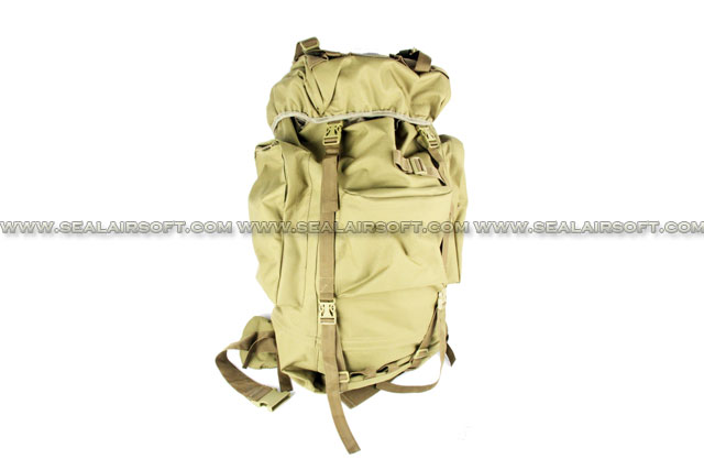 65L Combat Rucksack Camping Backpack Bag Rain Cover Tan