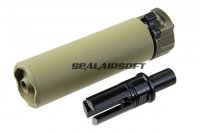 5KU Airsoft SOCOM46 Mini Suppressor For Umarex (KWA / VFC) MP7 AEG / GBB Tan 5KU-270-T