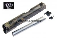 BELL Custom USMC Slide For Marui ARMY BELL 1911 GBB Woodland Camo Silver Barre BELL-739P1