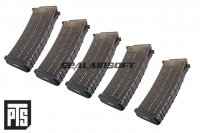 PTS AK Polymer Magazine For AK AEG (5pcs Box Set, Black) PTS-MAG-AK-P5-BK
