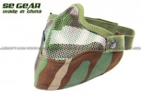 SE GEAR Airsoft Venom Half Face Mesh Mask (Woodland Camo With Mesh Pattern) SE-MK-0026-V7-WCP