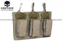 EMERSON 5.56 & Pistol Triple Open Top Magazine Pouch (Ranger Green) EM6363-RG